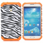 2-in-1 Zebra Pattern Protective Plastic + TPU Back Case for Samsung S4 i9500 - Orange + Black
