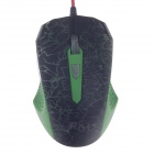 R8 1625 Color Fire Wolf USB 2.0 Wired Game Mouse Dazzling Colorful Mouse - Black+Green (143cm-Cable)