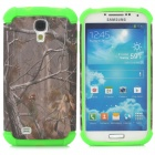 Branch Pattern 2-in-1 Plastic + TPU Back Case for Samsung i9500 - Green + Dark Grey