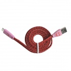 Nylon Smile Face USB 2.0-Stecker an Micro-USB-Stecker Daten-Synchronisierungs-/ Ladekabel - rot + Deep Pink (103cm)