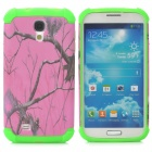 Tree Branch Style Protective Plastic + TPU Back Case for Samsung Galaxy S4 i9500 - Deep Pink + Green