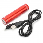 "Cylinder-Shaped ""3300mAh"" External Battery Charger Power Bank for Iphone 5 / 5s / 5c / 4 / 4s - Red"