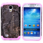 Tree Branch Style Protective Plastic + TPU Back Case for Samsung Galaxy S4 i9500 - Pink + Dark Grey