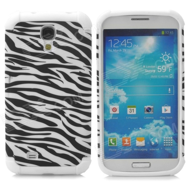 Zebra Pattern 2-in-1 Protective Plastic + TPU Back Case for Samsung S4 i9500 - White + Black lychee pattern protective pc tpu back case for samsung galaxy s4 i9500 sky blue white