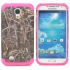 Grass Pattern 2-in-1 Plastic + TPU Back Case for Samsung S4 i9500 - Deep Pink + Grey