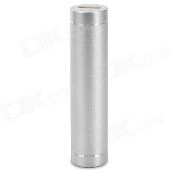 "Cylinder-Shaped ""3300mAh"" External Battery Charger Power Bank for Iphone 5 / 5s / 5c / 4s - Silver"