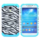 Zebra Pattern 2-in-1 Plastic + Silicone Back Case for Samsung i9500 - Blue + Black + White