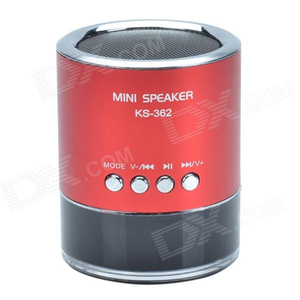 KS-362 Hi-Fi Stereo Mini Speaker w/ Micro SD / U-flash & FM function - Black + Red