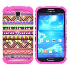 Tribe Pattern Protective Plastic + Silicone Back Case for Samsung i9500 - Deep Pink