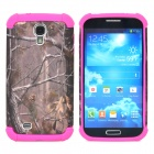 Branch Pattern 2-in-1 Plastic + Silicone Back Case for Samsung i9500 - Deep Pink + Grey