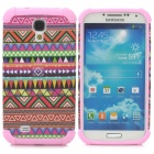 Tribe Pattern Protective Plastic + TPU Back Case for Samsung S4 i9500 - Pink + Multicolored