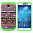Tribal Ethnic Style Protective Plastic + TPU Case for Samsung Galaxy S4 i9500 - Green + Multicolor