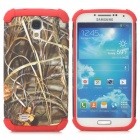 Grass Pattern 2-in-1 Plastic + TPU Back Case for Samsung S4 i9500 - Red