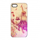 Elonbo J1A10 Cute Elephant Paint Protective PC Hard Back Case for Iphone 5 / 5s - Light Yellow