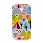 Lofter Cartoon Fox Style-Flip Open PU-Leder Tasche für Samsung Galaxy i9500 S4 - Bunt