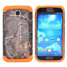 Branch Pattern 2-in-1 Plastic + Silicone Back Case for Samsung i9500 - Orange + Deep Grey