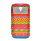 LOFTER National Style Flip Open PU Leather Case Cover for Samsung Galaxy S4 i9500 - Multicolored