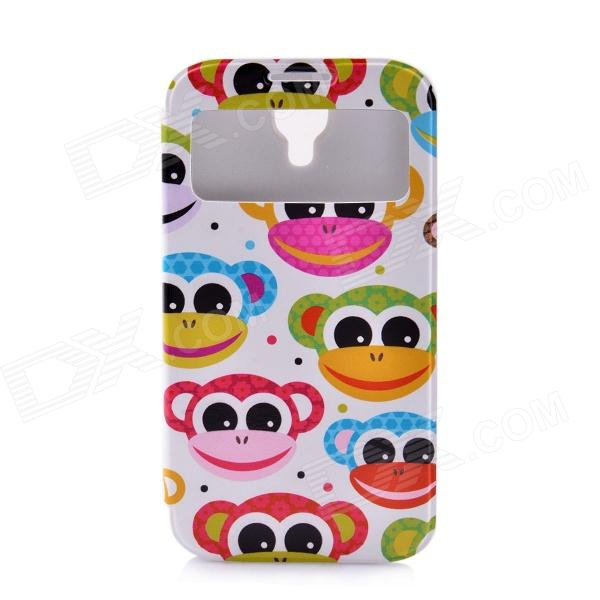 LOFTER Cartoon Smiling Monkey Style PU Leather Case Cover for Samsung Galaxy S4 i9500 - Multicolored
