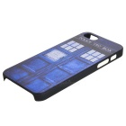 Window Door Painting Emboss Pattern Protective Plastic Back Cover Case for Iphone 5 / 5s - Blue