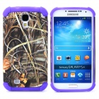 2-in-1 Weed Style Protective Plastic + TPU Back Case for Samsung Galaxy S4 i9500 - Purple + Grey