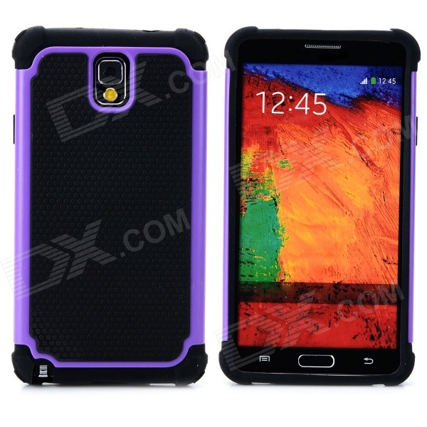 2-in-1 Protective Plastic + TPU Back Case for Samsung Galaxy Note 3 N9000 - Purple + Black 2 in 1 detachable protective tpu pc back case cover for samsung galaxy note 4 black