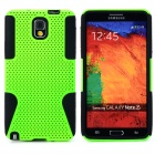 Mesh Style Protective Plastic + TPU Back Case for Samsung Galaxy Note 3 N9000 - Green + Black