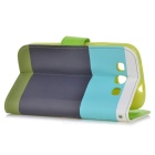 Protective PU Flip-Open Case for Samsung Galaxy S3 i9300 - Black + Light Green + Multicolored