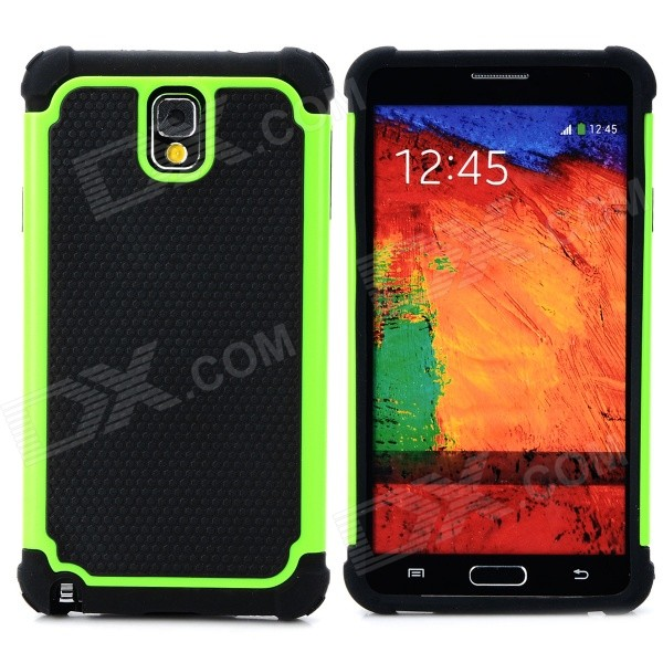 2-in-1 Protective Plastic + TPU Back Case for Samsung Galaxy Note 3 N9000 - Green + Black 2 in 1 detachable protective tpu pc back case cover for samsung galaxy note 4 black