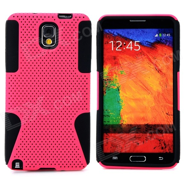 Mesh Style Protective Plastic + TPU Back Case for Samsung Galaxy Note 3 N9000 - Deep Pink + Black 2 in 1 protective plastic tpu back case for samsung galaxy note 3 n9000 orange black