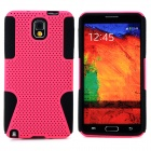 Mesh Style Protective Plastic + TPU Back Case for Samsung Galaxy Note 3 N9000 - Deep Pink + Black