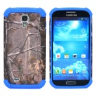 Branch Pattern 2-in-1 Plastic + Silicone Back Case for Samsung i9500 - Blue + Deep Grey