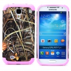 Weed Style Protective Plastic + TPU Back Case for Samsung Galaxy S4 i9500 - Grey + Pink