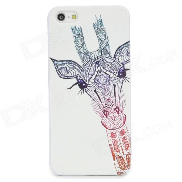 Giraffe Painting Emboss Pattern Protective Plastic Back Cover Case for Iphone 5 / 5s - White + Red iris pattern protective plastic back case for iphone 3g white