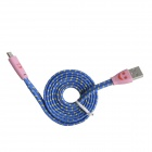 Flat Nylon Smile Face USB 2.0 Male to Micro USB Male Data Sync / Charging Cable - Blue (103cm)