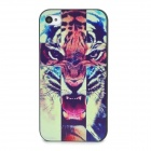 Tiger Painting Emboss Pattern Protective Plastic Back Cover Case for Iphone 4 / 4S - Black + Brown