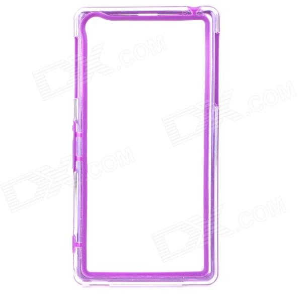 Protective PC + TPU Bumper Frame Case for Sony Xperia Z1 L39h - Purple + Transparent protective tpu   pc bumper frame for lg