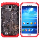 Tree Branch Style Protective Plastic + TPU Back Case for Samsung Galaxy S4 i9500 - Red + Dark Grey
