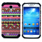 Tribal Ethnic Style Protective Plastic + TPU Case for Samsung Galaxy S4 i9500 - Black + Multicolor