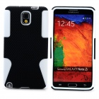 Mesh Style Protective Plastic + TPU Back Case for Samsung Galaxy Note 3 N9000 - Black + White