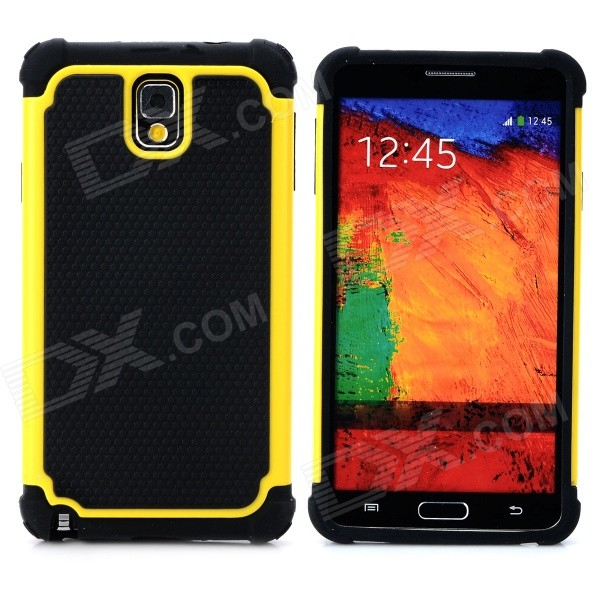 2-in-1 Protective Plastic + TPU Back Case for Samsung Galaxy Note 3 N9000 - Yellow + Black 2 in 1 detachable protective tpu pc back case cover for samsung galaxy note 4 black