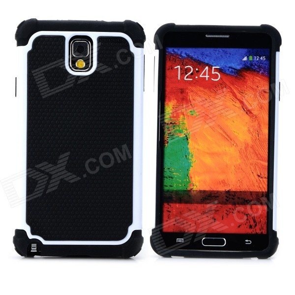 2-in-1 Protective Plastic + TPU Back Case for Samsung Galaxy Note 3 N9000 - White + Black 2 in 1 detachable protective tpu pc back case cover for samsung galaxy note 4 black