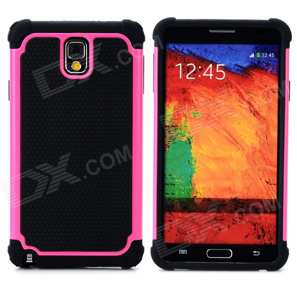 2-in-1 Protective Plastic + TPU Back Case for Samsung Galaxy Note 3 N9000 - Deep Pink + Black 2 in 1 detachable protective tpu pc back case cover for samsung galaxy note 4 black