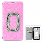 Shining Protective Rhinestone PU Leather Case for Samsung Galaxy Note 3 N9000 - Pink
