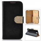 Shining Protective Rhinestone PU Leather Case for Samsung Galaxy S4 - Black + Golden
