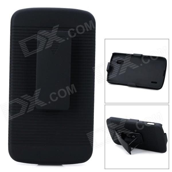 2-in-1 Detachable Protective ABS Case w/ Belt Clip for LG Nexus 4 E960 - Black 3 in 1 fish eye macro wide angle clip lens white black