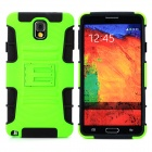 Cool Protective Plastic + TPU Case w/ Belt Clip for Samsung Galaxy Note 3 N9000 - Green + Black
