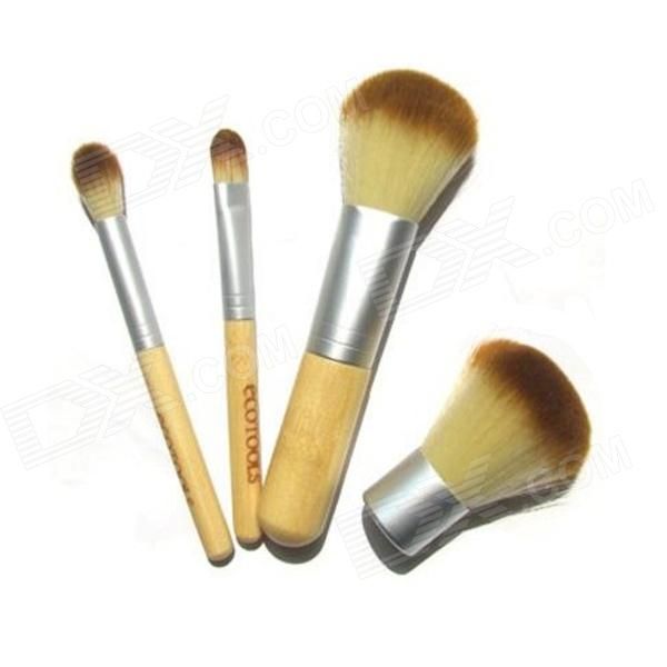 Natural Bamboo Handle Brush / Powder Brush / Eye Shadow Brush / Rouge Brush Sets (4 PCS)