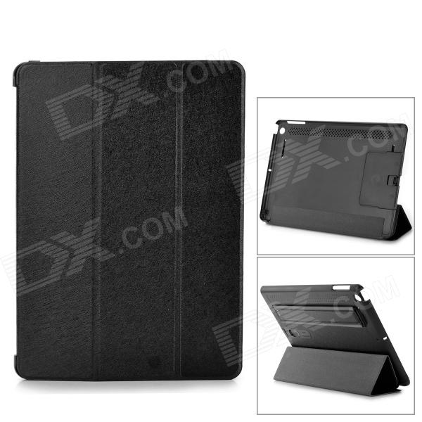 Multi-Function PU Leather Case w/ Auto Sleep / Vent-Hole / Sound Amplifier for Ipad AIR - Black multi function pu leather case vent holes sound amplifier for ipad 3 4 orange