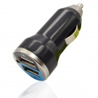 Bullet Shaped Dual USB Car Cigarette Lighter Adapter Charger - Black + Blue (12~24V / 1A / 2.1A)