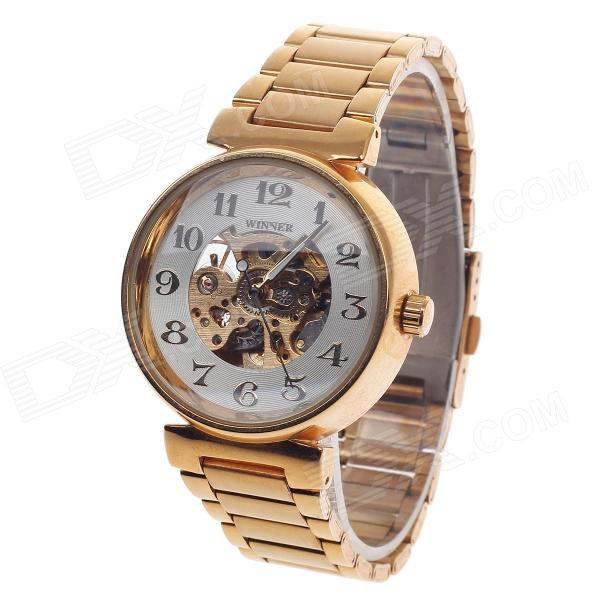 Winner U8022 Classic Skeletono Men's Mechanical Watches - White + Golden